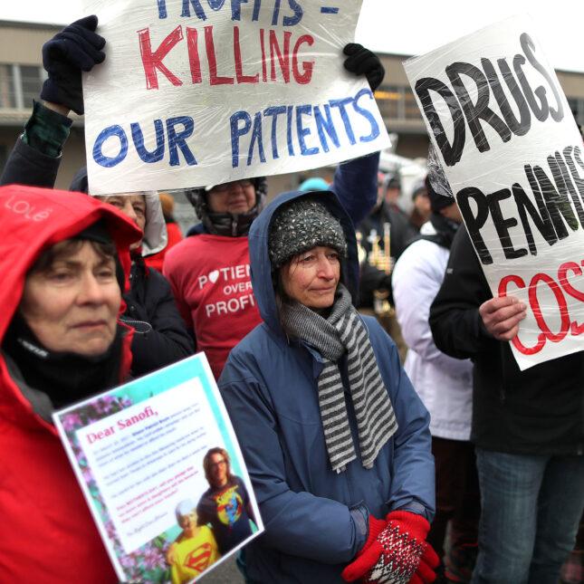 Wide shot insulin protest Cambridge