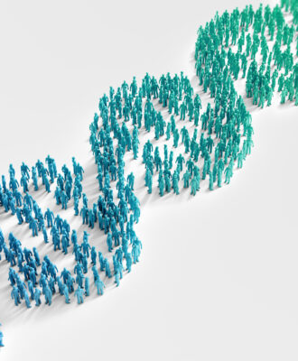 Tiny people forming a DNA helix