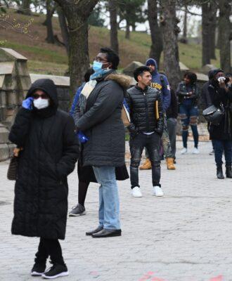 coronavirus testing line, NY
