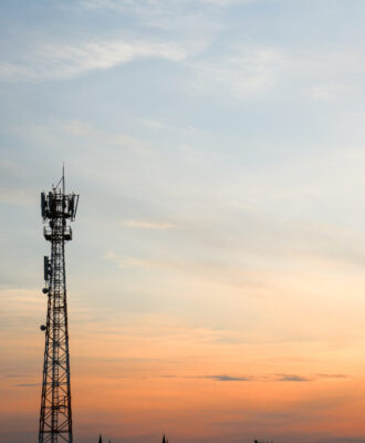 cell tower at sunset