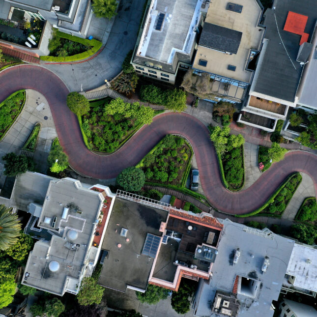 aerial view Lombard st
