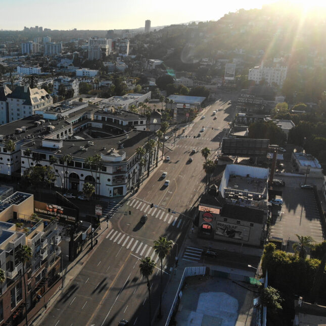 aerial view sunset blvd
