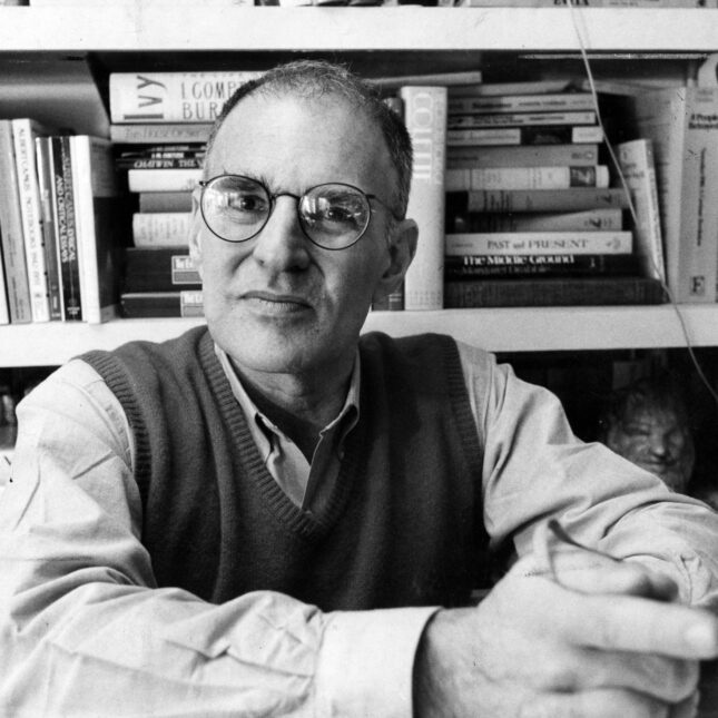Larry Kramer in his apartment