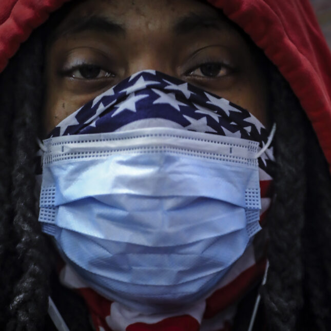 Black Men/American flag face mask