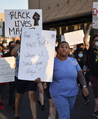 Medical workers BLM protest racism
