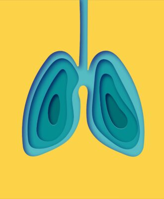 Lungs on yellow