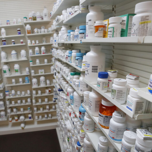 Pharmacy shelves