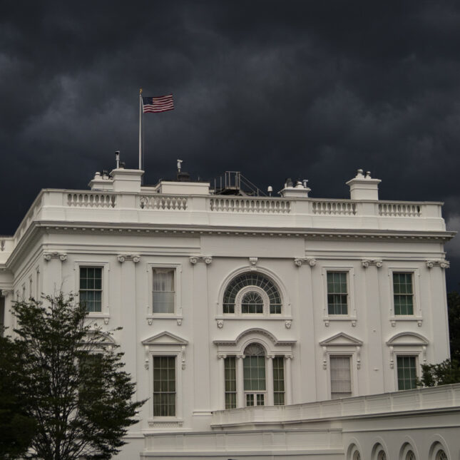 white house with clouds