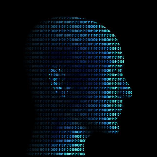 Human profile in binary code AI artificial intelligence