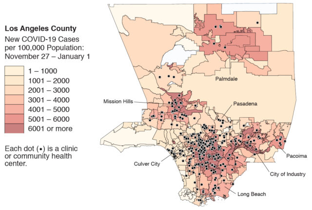 Map LA covid community health centers