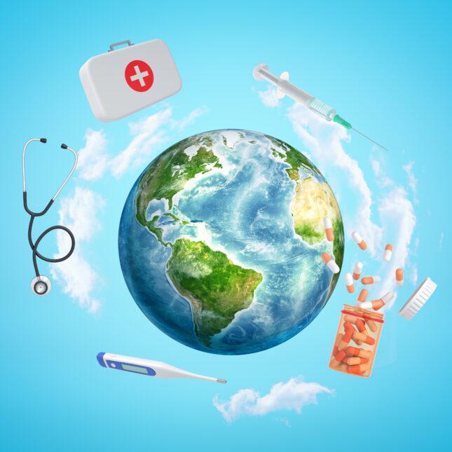 globe and meds illo